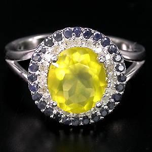 anel de prata 925 com opala de fogo top safiras e 20 diamantes naturais
