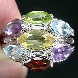 Anel de Prata 925 Multigemas Coloridas Naturais