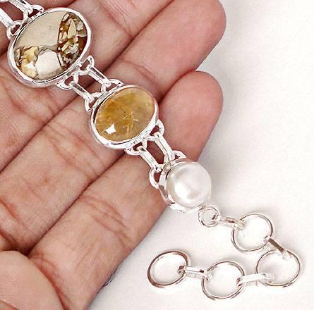 pulseira de prata 925 com opala mexicana turmalina perola natural