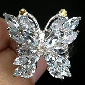Anel Borboleta de Ouro Branco 14k Plated com Topázio Sky Blue Top e Safiras