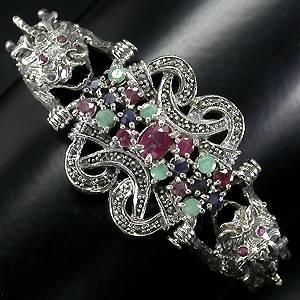 bracelete de dragoes em prata 925 com esmeraldas rubis safiras e marcassitas
