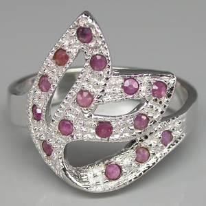 Anel de Prata 925 com Rubis Rosa Naturais