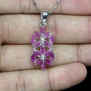 Pingente Floral de Prata 925 com Rubis Rosa Naturais