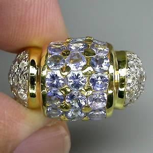 Anel de Ouro Branco e Amarelo 14 k Plated (Prata 925) com Tanzanitas e Zircônias Naturais Lapidação Diamante
