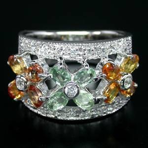 Anel de Prata 925 com Safiras Coloridas Naturais e Zircônias Cúbicas Lapidação Diamante