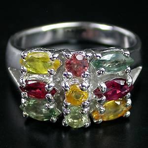 Anel de Prata 925 com Safiras Coloridas Naturais Lapidação Diamante