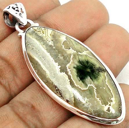 Pingente Indiano de Prata 925 com Jaspe Oceânico Natural