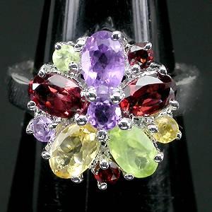Anel Flor de Prata 925 com Multigemas Coloridas Naturais