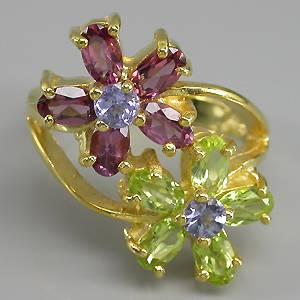 Anel Feminino de Ouro Amarelo 14 k Plated Prata 925 com Flores de Tanzanitas, Peridotos e Rodolitas Naturais Lapidação Diamante