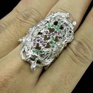 Anel de Ouro Branco 14k Plated Prata 925 com Esmeraldas e Rubis Rosa Naturais