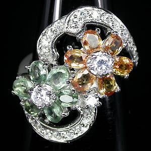 Anel Floral de Prata 925 com Safiras Naturais e Zircônias Cúbicas Lapidação Diamante