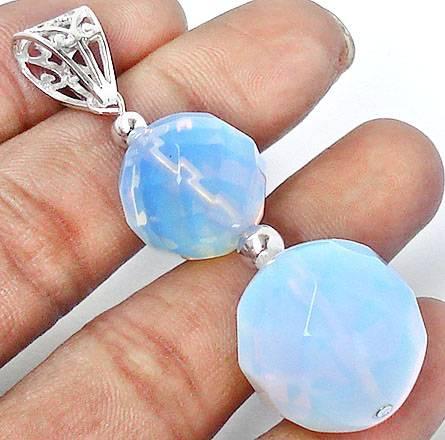Pingente de Prata 925 com Opalite Sky Blue