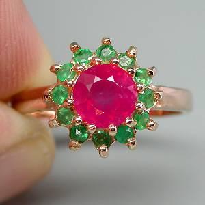 Anel Chuveiro de Ouro Rose 14k Plated Prata 925 com Rubi Rosa e Esmeraldas Naturais