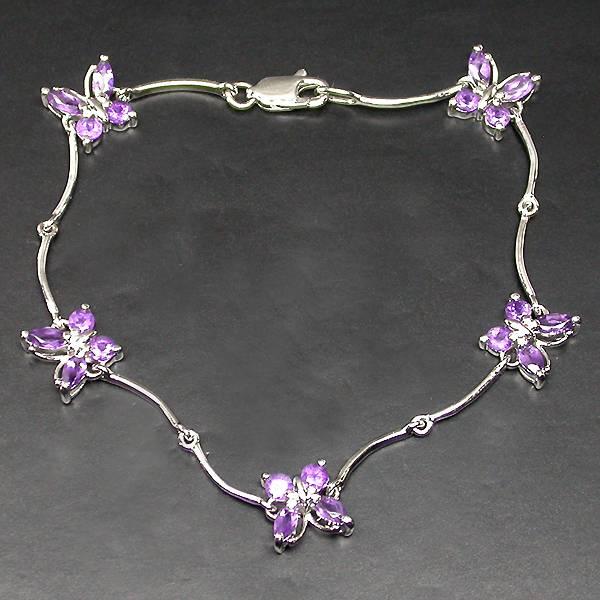 pulseira de prata 925 com borboletas de ametistas naturais