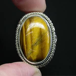 Anel de Prata 925 com Olho de Tigre Natural