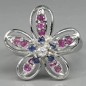 Anel Floral de Prata 925 com Rubis e Safiras Naturais e Zircônia Cúbica Lapidação Diamante