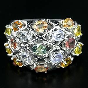 Anel de Prata 925 com Safiras Coloridas Naturais