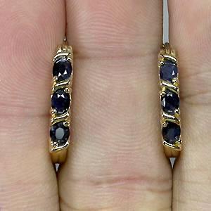 Brincos Argolas de Ouro 14k Plated (Prata 925) com Safira Azul Natural