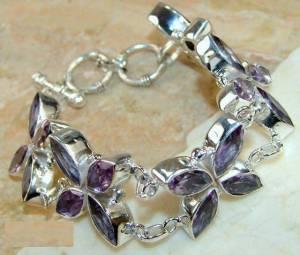 bracelete floral de prata 925 com ametistas top naturais maxi pulseiras