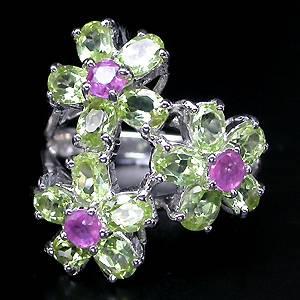 Anel Floral de Prata 925 com Peridotos e Rubis Naturais