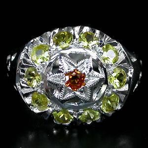 Anel de Ouro Branco 14 k Plated (Prata 925) com Safiras Top Naturais