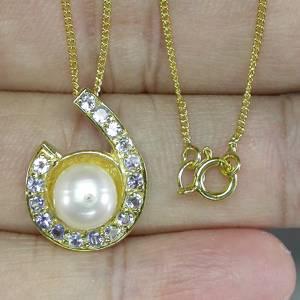 Colar de Ouro Amarelo 14 k Plated (Prata 925) com Pérola, Tanzanitas e 01 Diamante Naturais