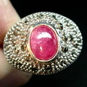 Anel de Prata 925 com Rubi Rosa e Marcassitas Naturais