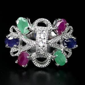 Anel de Prata 925 com Esmeralda, Rubi e Safira Naturais e Zircônias Cúbicas Lapidação Diamante