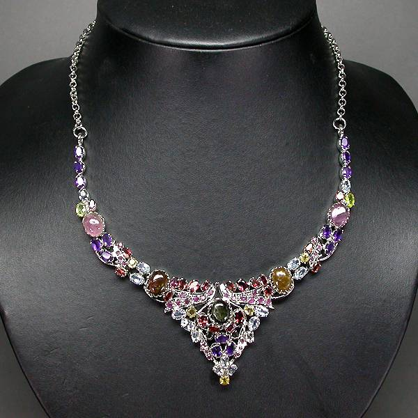 gargantilha de prata 925 com mix de gemas naturais joia de rainha