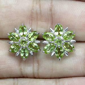 Brincos Florais de Prata 925 com Peridotos Naturais