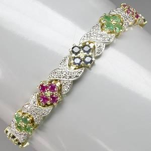 bracelete de ouro amarelo e branco 14k com esmeraldas rubis safiras e 03 diamantes