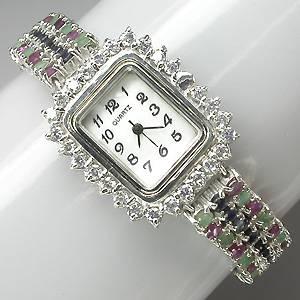 relogio de prata 925 com esmeraldas rubis safiras gemas naturais
