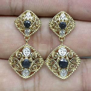 Brincos de Ouro Amarelo e Branco 14 k Plated (Prata 925) com Safiras e 02 Diamantes Naturais