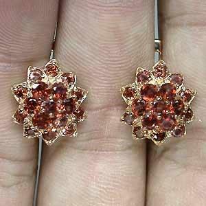 Brincos de Ouro Rose 14 k Plated (Prata 925) com Granadas de Moçambique Naturais