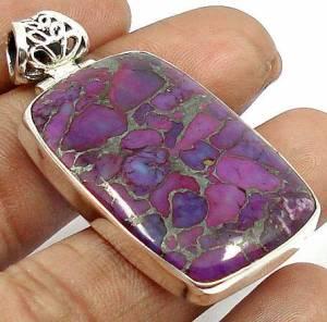 Pingente de Prata 925 com Turquesa Silver Púrpura Natural