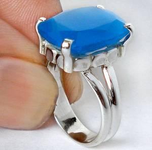 Anel de Prata 925 com Calcedônia Azul Natural