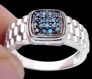 Anel de Prata 925 com 21 Diamantes Azuis Naturais e com Aplicação de Ródio Negro