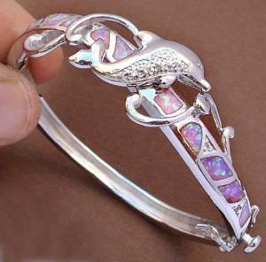 Bracelete de Prata 925 com Golfinho e Opalas de Fogo Australianas e Topázios Naturais