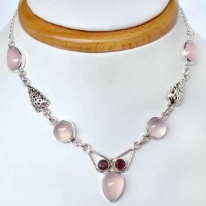 colar de prata 925 com quartzos rosas e granadas moçambique naturais