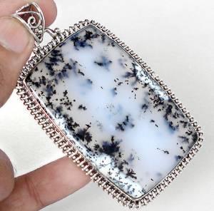 Pingente Indiano de Prata 925 com Ágata Dendrita (ou Merlinite) Natural