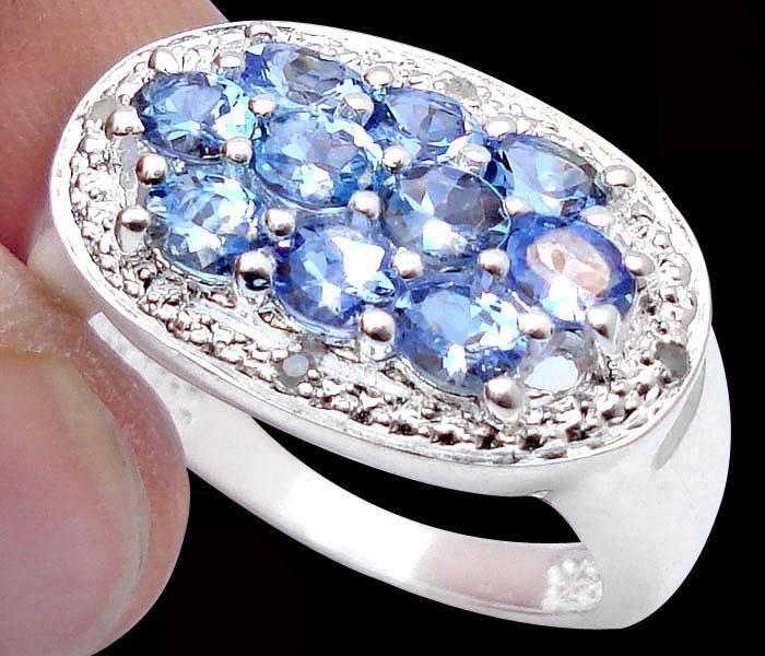 Anel de Prata 925 com Tanzanitas e Diamantes