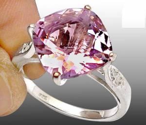 anel de prata 925 com ametistas top e 04 diamantes naturais