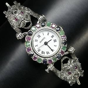 Relógio/Bracelete de Prata 925 com Esmeraldas, Rubis, Safiras e Marcassitas Naturais