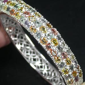 pulseira bracelete de prata 925 com 51 safiras coloridas naturais