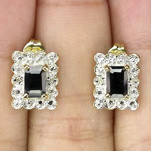 brincos de ouro 14k plated com safiras black e 04 diamantes naturais