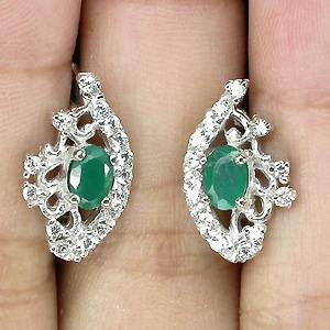 Brincos de Prata 925 com Aventurine Natural e Zircônias Cúbicas Lapidação Diamante
