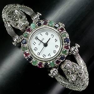 relogio bracelete de prata 925 com esmeraldas safiras rubis e marcassitas