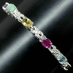 pulseira de prata 925 com multigemas coloridas naturais e zirconias