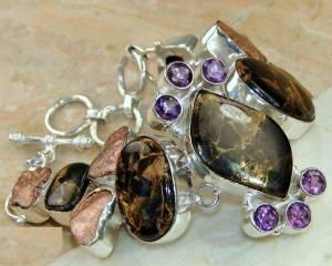 bracelete de prata 925 com olho de tigre marra mamba ametistas e cobre