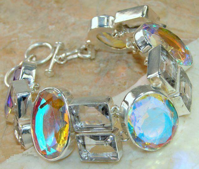 Bracelete de Prata 925 com Topázios Místicos e Topázios Brancos Naturais